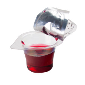 Taste the juice of the pre filled communion cup